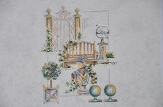 Finished completed Cross stitch - Lanarte Garden pieces crossstitch counted cross stitch