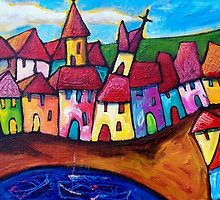 VILLAGE  IN    SICILY - ITALY by ART PRINTS ONLINE         by artist SARA  CATENA