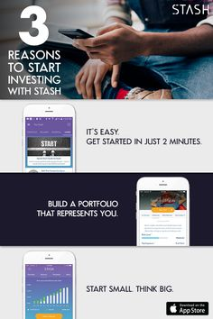 Download the free Stash app today and start investing with as little as $5. Stash breaks down complicated financial language into clear, relatable choices and helps you build confidence to create your own portfolio by providing guidance and tips along the way.
