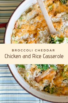 This easy Broccoli Cheddar Chicken and Rice Casserole recipe can be prepared up to 3 days ahead of time and baked when you need to make a quick dinner! Cooker Recipes, Crockpot Recipes, Soup Recipes, Vegetarian Recipes, Chicken Recipes, Dinner Recipes, Healthy Recipes, Cheese Recipes, Rice Casserole