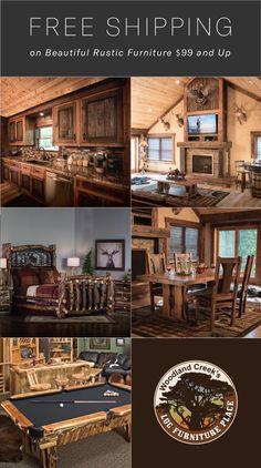 Rustic Log Furniture for Cabin & Lodge Decor Unique Wood Furniture, Rustic Log Furniture, Kids Furniture, Cabin Homes, Log Homes, Western Homes, Lodge Decor, Interior Design Living Room, Decoration