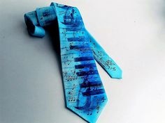 Original tie whith music theme. Blue and turquoise by milliongifts