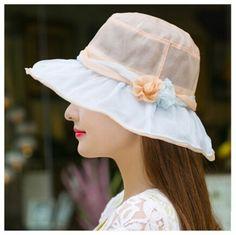 Flower silk sun hat for women summer outdoor elegance bucket hats