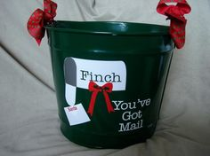 cute!  bucket for Christmas cards.