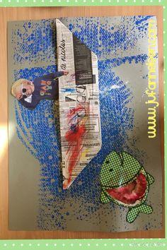 Peuterklas thema water , vakantie,... Groot werk (>A2formaat) met verschillende technieken! Achtergrond: schrijbelen op bubbelplastic en afdrukken. Vis: lijf: stiften op koffiefilter en dan zelf water er op spuiten. Boot versieren met woody-potloden. Foto kleven. Www.jufanneleen.com Pre-school theme vacation , water !