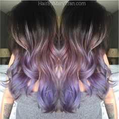 Mary Tran - Santa Monica, CA, United States. Purple Ombre and long layered blended haircut on asian hair. Hair Color And Cut, Ombre Hair Color, Blonde Ombre, Purple Hair, Purple Ombre, Purple Grey, Violet Ombre, Grey Balayage, Balayage Hair