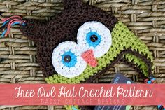 Free Owl Hat Crochet Pattern by Daisy Cottage Designs, via Flickr