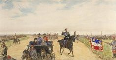 Rolled Panorama Watercolor by Pavel Yakovlevich Pyasetsky: The Visit of Tsar Nicholas II Alexandrovich Romanov (18 May 1868-17 Jul 1918) Russia & wife Tsarina Alix-Alexandra Feodorovna (6 Jun 1872–17 Jul 1918) Hesse to France in Sept 1901. Nicholas II & Alix-Alexandra Feodorovna on the Road to visit the Fortifications of Bethune, France, which was regularly besieged for 100's of years. Location 1919 in The Central Geographical Museum, Leningrad, Russia.