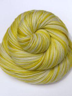 Hand Dyed Fingering, Sock Yarn, 100% Superwash Merino, Citron