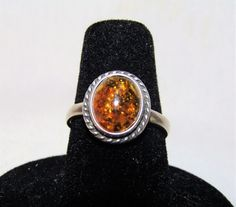 Estate BALTIC Cognac Honey Natural AMBER CABOCHON 925 Sterling Silver Ring 6.75 #Solitaire