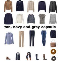 tan, navy and grey autumn capsule wardrobe: change grey to khaki?
