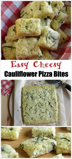 Cheesy Cauliflower Pizza Bites - Easy recipe for pizza crust that's low-carb, gluten-free, healthy and so delicious!