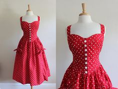 Vintage 1980s does 1950s Red Polka Dot Pin Up Dress