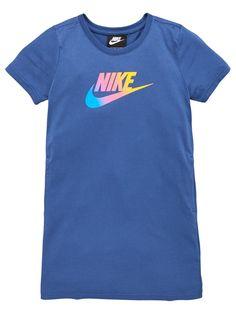 Nike Girls Nsw Futura Future Femme T-Shirt Dress - Navy, Navy, Size - Navy - Years Nikes Girl, Tee Dress, Baby Wearing, Nike Logo, Kids Girls, Girl Outfits, Navy, Future, 15 Years