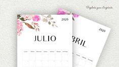 Calendario para imprimir 2020 - Papelería para Imprimir Bullet Journal Printables, Bullet Journal Inspo, Printable Calendar 2020, Cute Notes, Study Hard, Planner, Free Printables, Projects To Try, Stationery