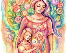 Mother And Daughter Drawing, Mother And Child Painting, Mother Art, Feminine Decor, Pregnancy Art, Art Mural, Art Art, Dance Art, Love Painting