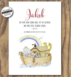 The gift of baptism, Noah& Ark, by bei.werk: a personalized print with . Lion Tattoo Meaning, Tattoos With Meaning, Popular Baby Names, Diy For Kids, Boy Or Girl, Blessed, Bible, Place Card Holders, Etsy