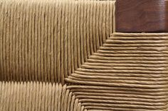 A closer look at our handwoven seat back on the Woven Rush Lounge Chair.