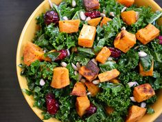 A hearty salad with bitter kale greens, sweet and creamy sweet potatoes, crunchy sesame seeds, and a tangy champagne vinaigrette.