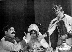 "Oliver Hardy, Martha Sleeper and Charley Chase in ""Long Fliv the King"" (1926)."