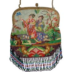 """Figural / Scenic Beaded Purse,  asian """"Geisha"""" with blue bird, beautiful colors and detail"""