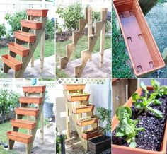 This is a very cute, very simple, vertical garden idea. I think I can even get the stair risers already cut at Home Depot. I'm going to make mine an herb garden (Diy Garden Box) Plantador Vertical, Jardim Vertical Diy, Vertical Garden Design, Vertical Planter, Vertical Gardens, Tiered Planter, Small Gardens, Balcony Garden, Garden Planters
