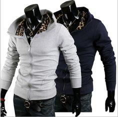 Men 's Zip Front Hoodie with Animal Print
