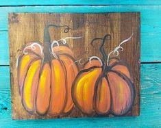 Pumpkin Canvas Painting, Painting On Wood, Autumn Art, Painted Pumpkins, Teaching Art, Fall Pumpkins, Fall Halloween, Halloween Party, Porch Decorating