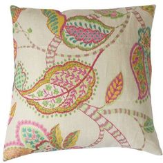 "The Pillow Collection Mazatl Linen Throw Pillow Color: Pink, Size: 22"" x 22"""