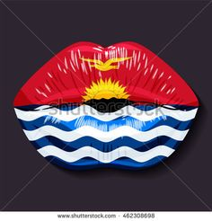 Foreign language school concept. Lips, open mouth, flag of Kiribati. Sovereign state in Oceania