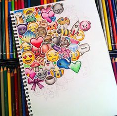Life is full of emojis. Someday anger,someday happiness n someday tears. All these emojis make our life colourful and lovable 💜💓💝 Amazing Drawings, Beautiful Drawings, Amazing Art, Cute Drawings Tumblr, Emoji Drawings, Awesome, Doodle Art, Doodle Drawings, Love Art