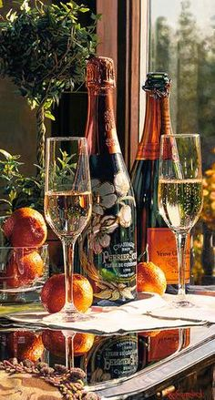 Limited edition giclee print on Canvas of Eric Christensen's original watercolor Sparkling Proposal featuring Perrier-Jouet and Veuve Clicquot champagnes. Art Du Vin, Perrier Jouet, Plakat Design, Festa Party, Wine Art, Sparkling Wine, Wine Country, French Country, Still Life