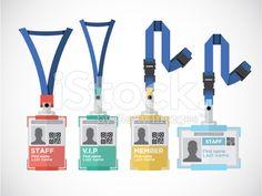 Lanyard, name tag holder end badge templates - vector illustration royalty-free stock vector art