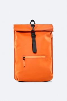 Rolltop Rucksack is Rains' take on a cycling backpack. Made from Rains' signature waterproof fabric, this functional backpack has a roll-top closure Orange Backpacks, Top Backpacks, Waterproof Backpack, Waterproof Fabric, Cycling Backpack, Bike Rucksack, Rains Backpack, Backpack Reviews, Backpack Online