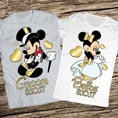 Anniversary Disney Shirts Honeymoon Bride And Groom Wedding Just Married