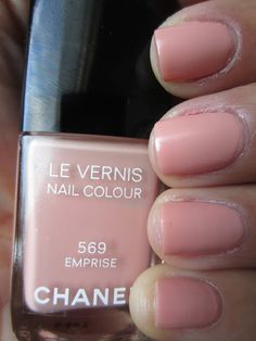 Chanel Spring 2013 Printemps Precieux de Chanel Collection    Chanel Emprise is a pretty feminine peachy beige creme with a very subtle shimmer. The shimmer does tend to get lost on the nail. Emprise is super pretty on the nail, I wasn't too sure how this would come out, but I loved it! Here is three thin coats of Emprise.