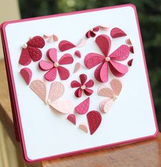 Beautiful Valentines card by Heather Summers Mom. Flowers made with hearts folded in half! Valentine Crafts, Valentine Day Cards, Paper Flowers Craft, Paper Crafts, Happy Love Day, Mothers Day Crafts, Handmade Birthday Cards, Card Maker, Crafty Craft