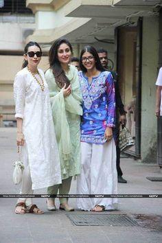 Kareena Kapoor, Saif Ali Khan and Taimur celebrated Diwali at Karisma Kapoor's office on Wednesday. Casual Indian Fashion, India Fashion, White Fashion, Ethnic Outfits, Indian Outfits, Indian Attire, Indian Wear, Kurta Designs Women, Salwar Designs