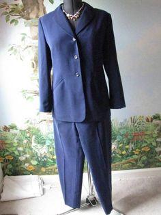 Kasper Petite Long Sleeve Blue women Pant Suit SZ 10P #Kasper #PantSuit