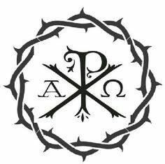 If i ever got a tattoo i would get this Chi Rho symbol. I made this with the crown of thorns around i think it looks great! Future Tattoos, New Tattoos, I Tattoo, Tatoos, Catholic Tattoos, Biblical Tattoos, Chi Rho Tattoo, Christian Tattoos, Praying The Rosary