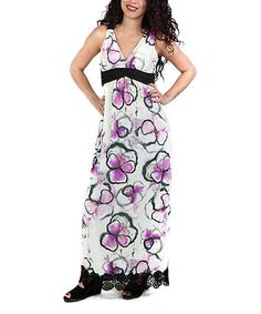 Another great find on #zulily! Purple & White Floral Crochet-Hem Maxi Dress - Plus #zulilyfinds