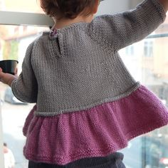 """Tutu Top """"Ravelry: Tutu Top pattern by Lisa Chemery 3 months to 8 years."""", """"Sweet and simple and super-swingy… The idea was to give that gauzy, """"tutu"""" f Baby Knitting Patterns, Knitting For Kids, Baby Patterns, Knitting Projects, Knitting Ideas, Knitting Stitches, Knitting Needles, Cardigan Bebe, Baby Cardigan"""