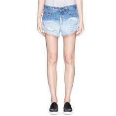 Rag & bone/jean 'Marilyn' exposed pocket denim shorts ($220) ❤ liked on Polyvore featuring shorts, blue, destroyed shorts, blue shorts, denim shorts, distressed shorts and ripped jean shorts
