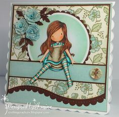 Gorjuss Blue Girl by: Jaycue Pretty Cards, Cute Cards, Handmade Card Making, Card Making Inspiration, Copics, Card Tags, Kids Cards, Creative Cards, Scrapbook Cards