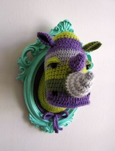 Crochet color block rhino head. $119.98 via Etsy. Woud love in different colors for max's room.
