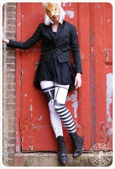 Garter Leggings - WHITE Black Striped Legging  - Polka Dot Striped Tights - SMALL Legging Womens Tights