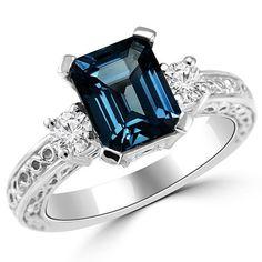 3.70ct Emerald Cut London Blue Topaz & Diamond by JewelryPoint