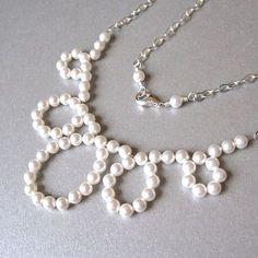Modern pearl loop bridal necklace