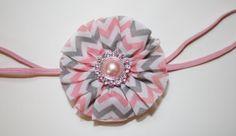 pink and grey chevron headband  pink and grey by KayleeGirlBows, $6.00