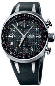 Oris Men's 67475877264RS TT3 Black Chronograph Dial Watch